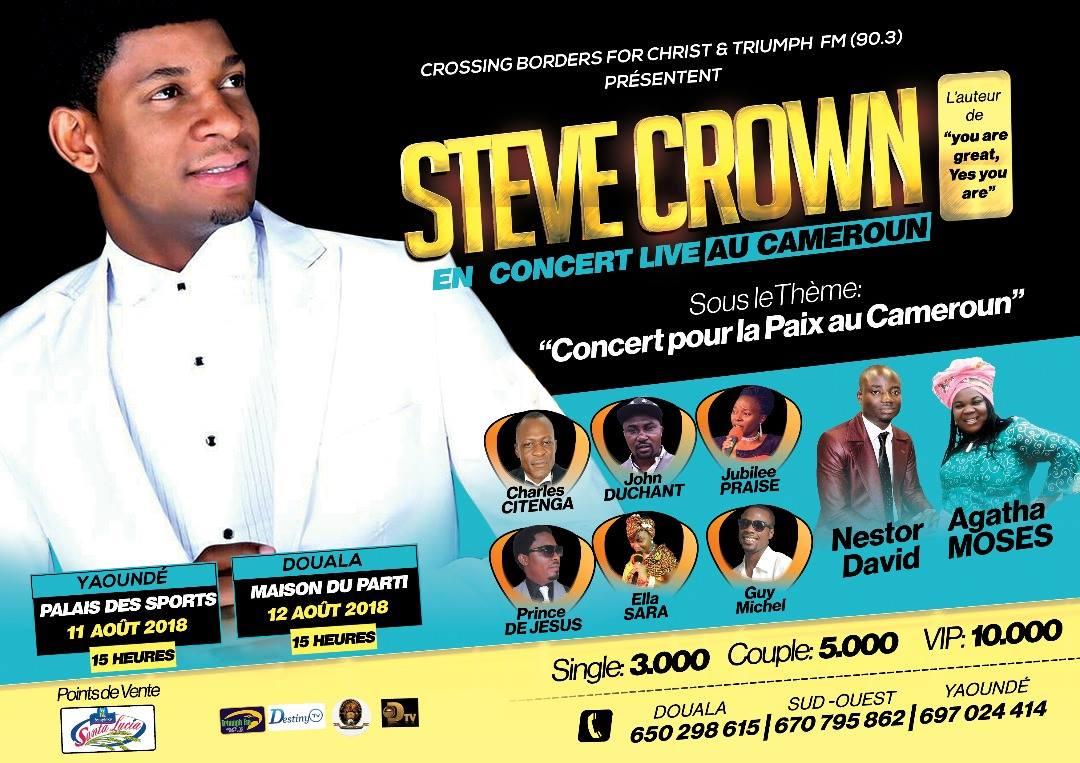 Steve Crown chantera pour la paix au Cameroun les 11…